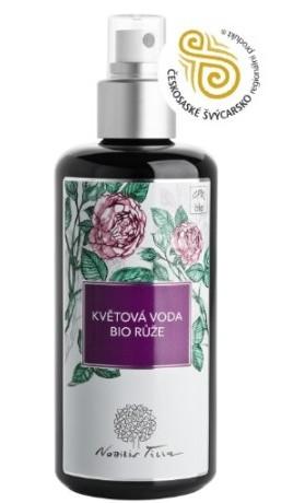Nobilis Tilia Květová voda BIO Růže 200 ml (tmavé fialové sklo)