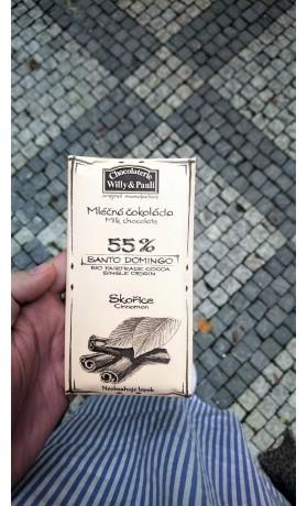 Chocolaterie Willy a Pauli BIO Mléčná čokoláda Santo Domingo 55% se skořicí