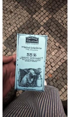 Chocolaterie Willy a Pauli BIO Mléčná čokoláda Santo Domingo 55%