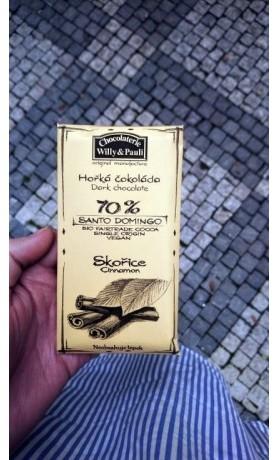 Chocolaterie Willy a Pauli BIO Hořká čokoláda Santo Domingo 70% se skořicí