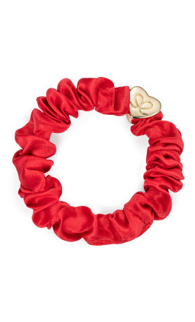 byEloise Gumička Gold Heart Silk Scrunchie Cherry Red