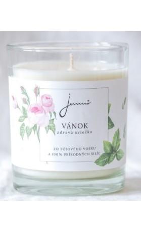 Vánek - sójová svíčka s vůní růže a máty JEMNÔ