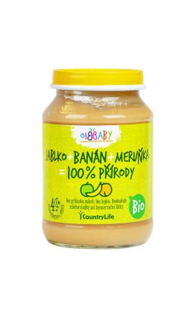 Příkrm jablko, banán, meruňka 190g BIO   COUNTRYLIFE