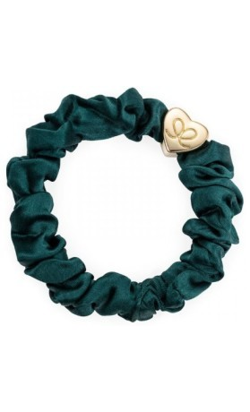 byEloise Gumička Gold Heart Silk Scrunchie Chive Green