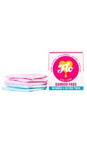 FLO Ultra tenké menstruační vložky z bio bambusu s křidélky mix 10 ks denních a 5 ks noční