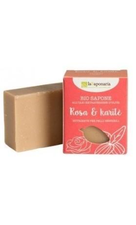 laSaponaria Tuhé olivové mýdlo BIO - Růžový olej a bambucké máslo