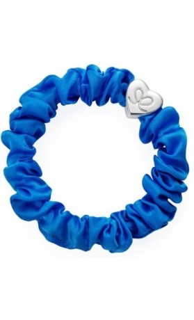 byEloise Gumička Silver Heart Silk Scrunchie Royal Blue