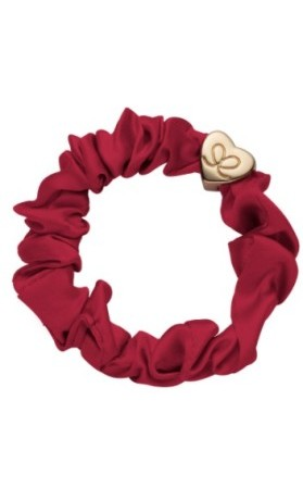 byEloise Gumička Gold Heart Silk Scrunchie Burgundy 1 ks