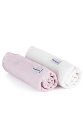 Bamboolik Čtvercové mušelínové pleny Bílá + Růžová