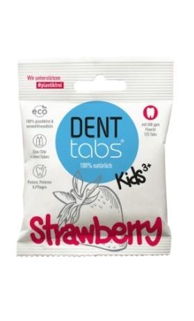 DENTTABS přírodní dětská zubní pasta v tabletách s fluoridem jahoda