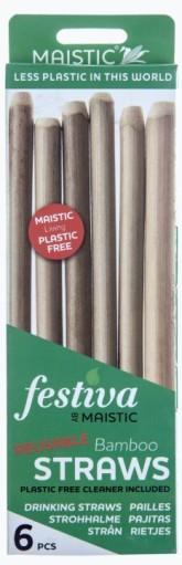 MAISTIC Přírodní bambusové brčko 25 cm + čistící kartáček