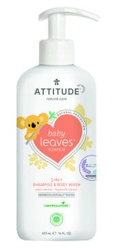 Attitude Dětské tělové mýdlo a šampon (2 v 1) Baby leaves s vůní hruškové šťávy