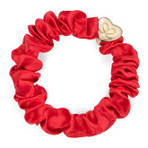byEloise Gumička Gold Heart Silk Scrunchie Cherry Red