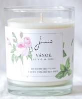 Jemnô Vánek, zdravá sójová svíčka s vůní růže a máty