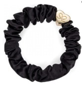 byEloise Gumička Gold Heart Silk Scrunchie Black