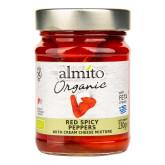 Papriky červené pikantní plněné sýrem 230 g BIO   ALMITO