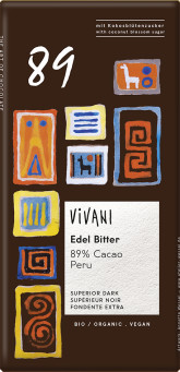 VIVANI Hořká čokoláda 89% Peru s kokosovým cukrem BIO