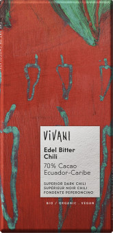 VIVANI Hořká čokoláda 70% s chilli BIO