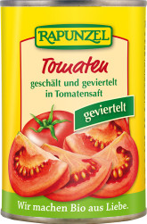 RAPUNZEL Bio rajčata loupaná čtvrcená