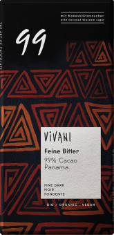 VIVANI Hořká čokoláda 99% s kokosovým cukrem BIO