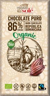 SOLÉ  Bio hořká čokoláda 86%