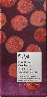 VIVANI  Bio hořká čokoláda s brusnicemi