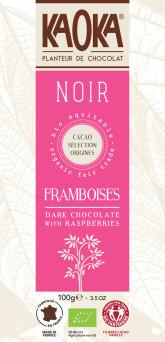KAOKA Bio hořká čokoláda s malinami