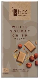 iChoc Bio vegan bílý nugát s oříšky