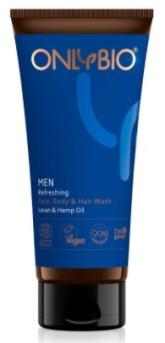 OnlyBio Pánský osvěžující mycí gel na obličej, tělo i vlasy