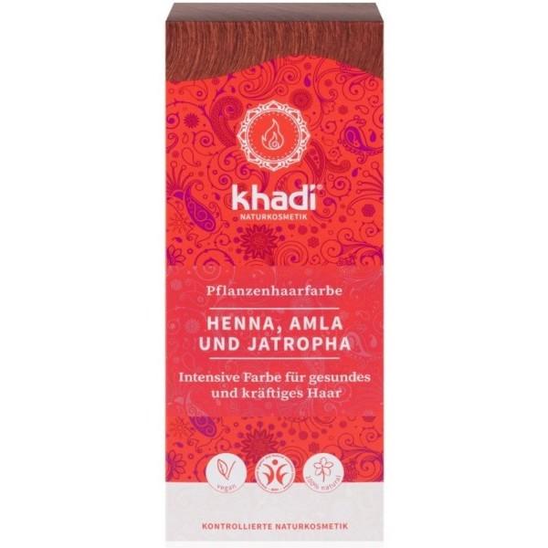 Khadi rostlinná barva na vlasy HENNA & AMLA & JATROPHA jantarově červená (100 g)