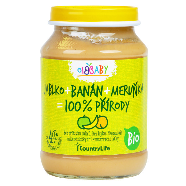COUNTRYLIFE Příkrm jablko, banán, meruňka 190g BIO