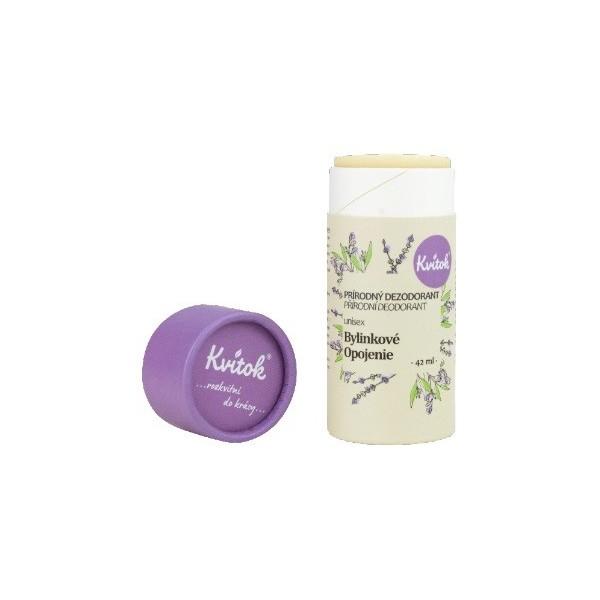 Kvitok Bylinkové opojení, tuhý deodorant unisex (papírová tuba) 42 ml
