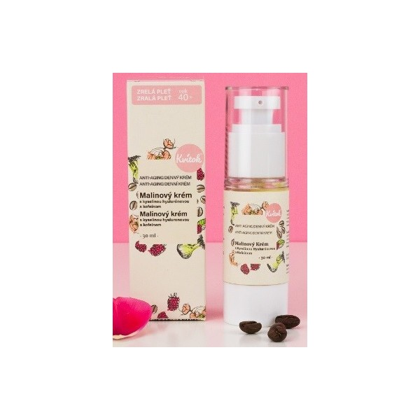 Kvitok Denní malinový krém s kofeinem 40+ pro zralou pleť 30 ml
