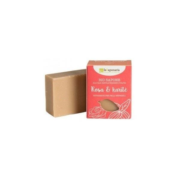 laSaponaria Tuhé olivové mýdlo BIO - Růžový olej a bambucké máslo 100 ml