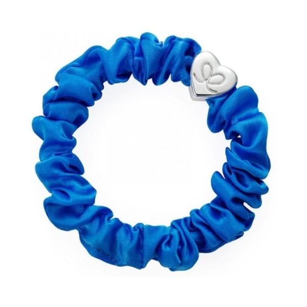 byEloise Gumička Silver Heart Silk Scrunchie Royal Blue