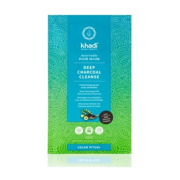 Khadi vlasová maska Hloubkové čištění aktivním uhlím (50 g)