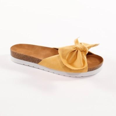 Pantofle s mašlí, žluté