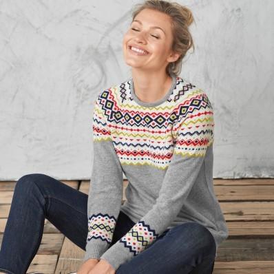 Žakárový pulovr s příměsí vlny