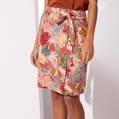 Vzdušná sukňa na gombíky, s potlačou