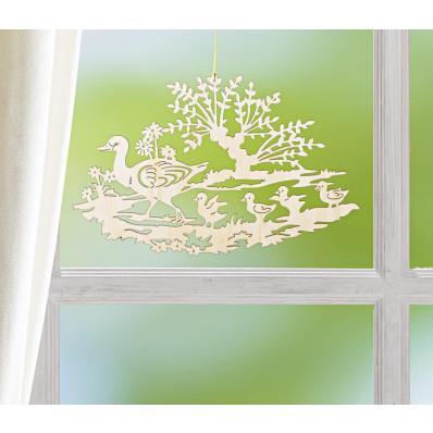 Drevená dekorácia Kačacia rodina