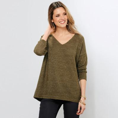 Třpytivý pulovr s dlouhými rukávy