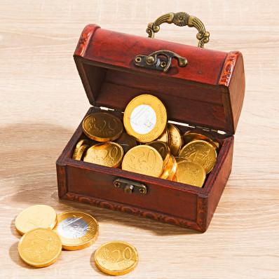 Pokladnica s čokoládovými mincami