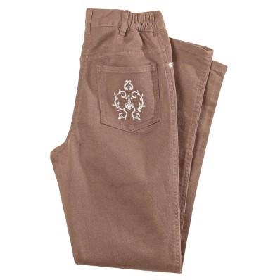 Džínsové nohavice s výšivkou, nižšia pos