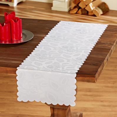 Asztali futó rózsamintás jacquard szövetből, fehér