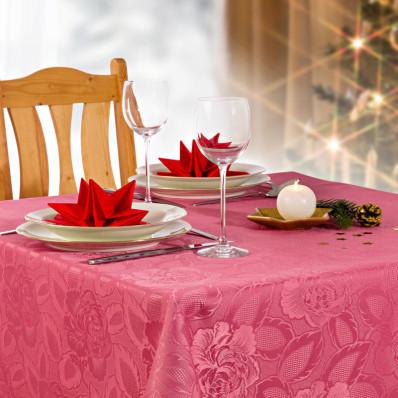 Asztalterítő rózsamintás jacquard szövetből, órózsaszín