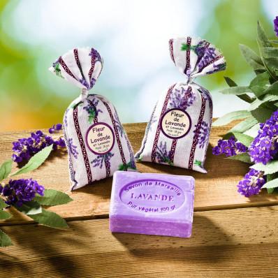 2 levanduľové vrecká + mydlo