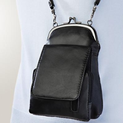 Kožená kabelka, černá