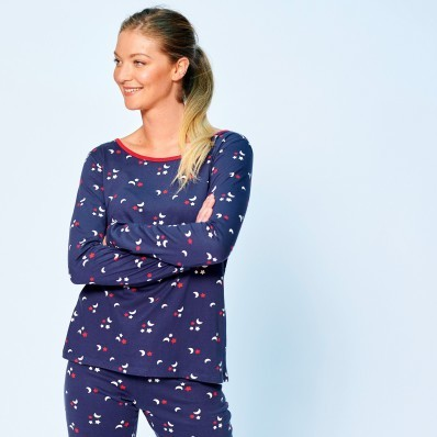Pyžamové tričko s potlačou a dlhými ruká