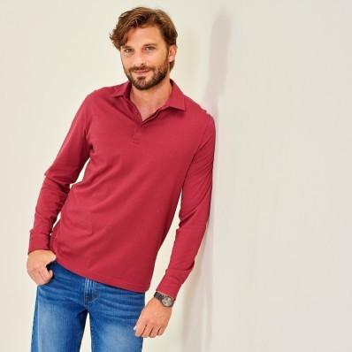 Jednobarevné polo tričko s dlouhými ruká