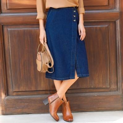 Puzdrová džínsová sukňa